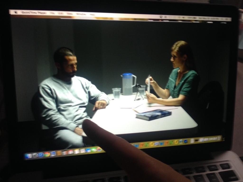 Jason Beaduoin and Allyson Grant as seen through the monitor